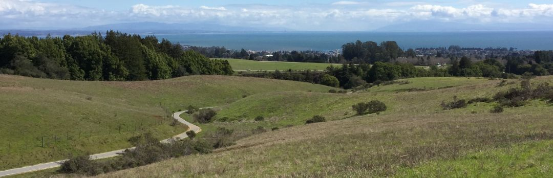 View of UCSC Bike Path and Monterey Bay in the distance